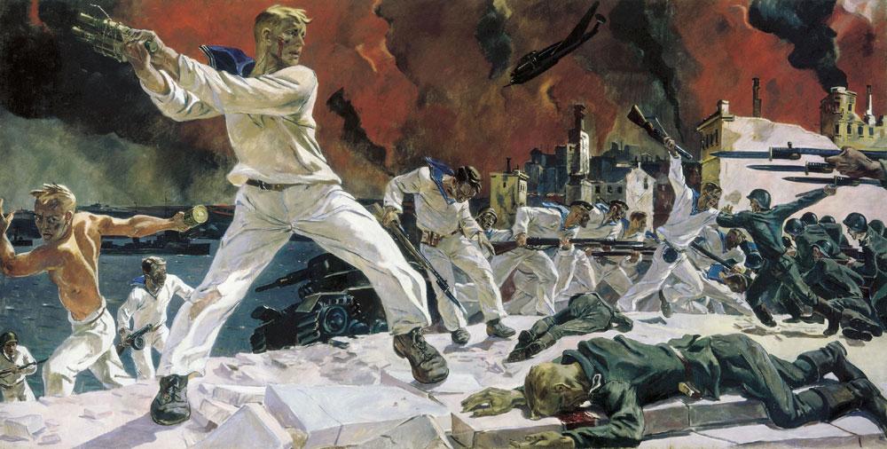 """Alexander Deyneka's painting """"Defense of Sevastopol"""" (1942)."""