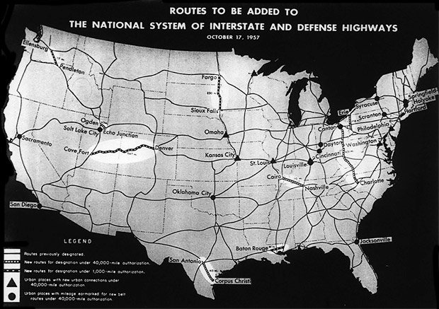 October 17, 1957 Federal Interstate Highway System plan. Illustration: Wikimedia Commons
