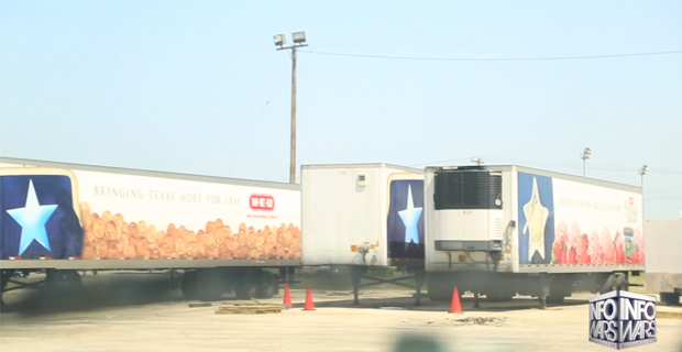 Three grocery store food trailers.