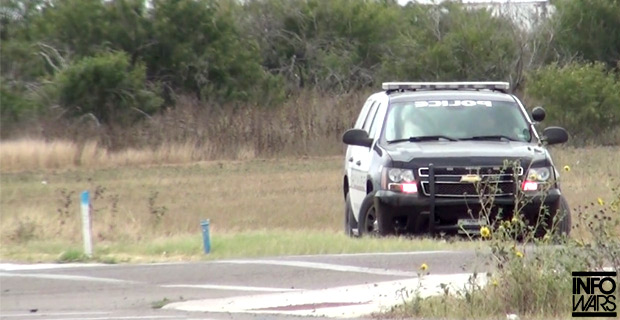 The Pharr, Texas police officer parked not far from the surveillance tower.