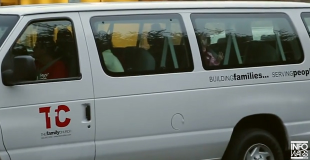 Infowars witnessed church group vans shuttling unaccompanied minors to nearby facilities.