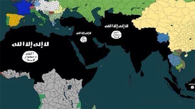"ISIS ""expansion"" plan map posted on Twitter."