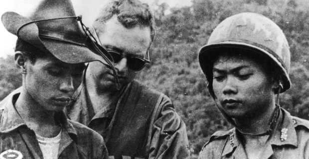 U.S. military advisor in Vietnam, ca. 1967-75. Several hundred advisors sent to Vietnam in 1955 eventually resulted in 500,000 U.S. troops, more than a million dead Indochinese and 55,000 dead U.S. soldiers. Photo: U.S. Department of Defense