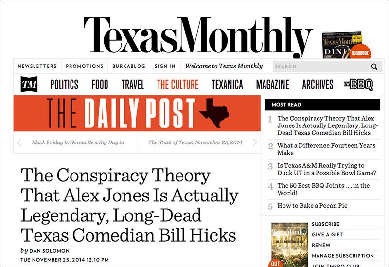 Twilight Zone: Texas Monthly Investigates if Alex Jones is Really Bill Hicks