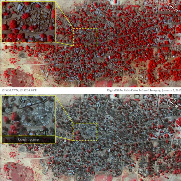 Group says satellite images show destruction of Nigeria villages by Boko Haram