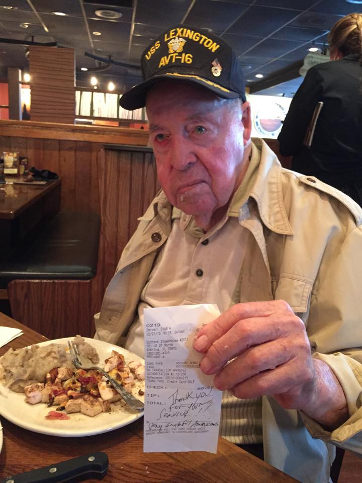'Thank you for your service': WWII Vet's Restaurant Tab Picked Up By Anonymous Steakhouse Patron