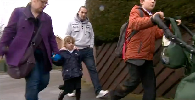 Sophie walks to school after her police encounter. / Image credit: BBC