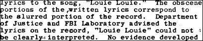 Feds Spent Two Years Deciphering Lyrics to 'Louie Louie,' Failed to Realize Copyright Office Already Had Them
