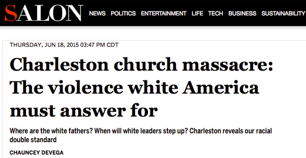 Salon: Blame Whites for Mass Shootings But Not Muslims for Terrorism