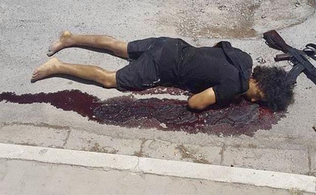 Suspected terrorist lies dead after attack. Photo: Instagram