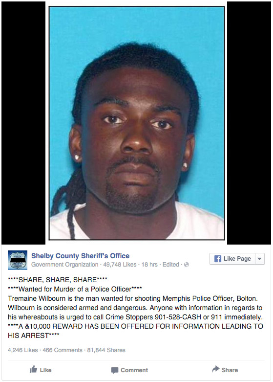Suspect Identified in Memphis Cop Killing
