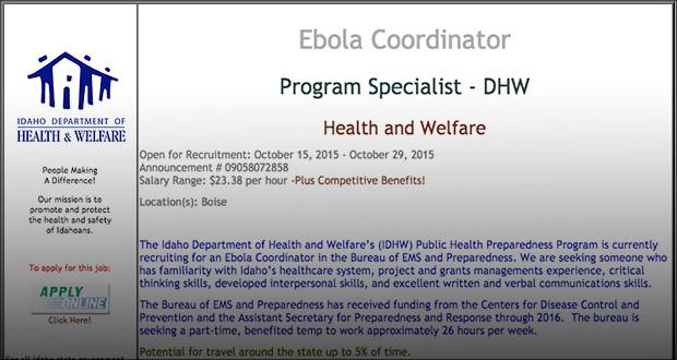 Idaho Quietly Seeks 'Ebola Coordinator'