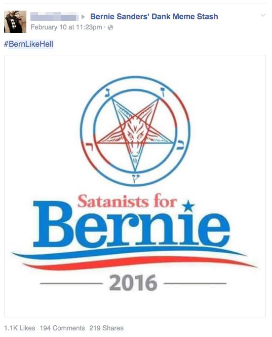 'Bern like hell': Satanists Rally Behind Socialist Bernie Sanders