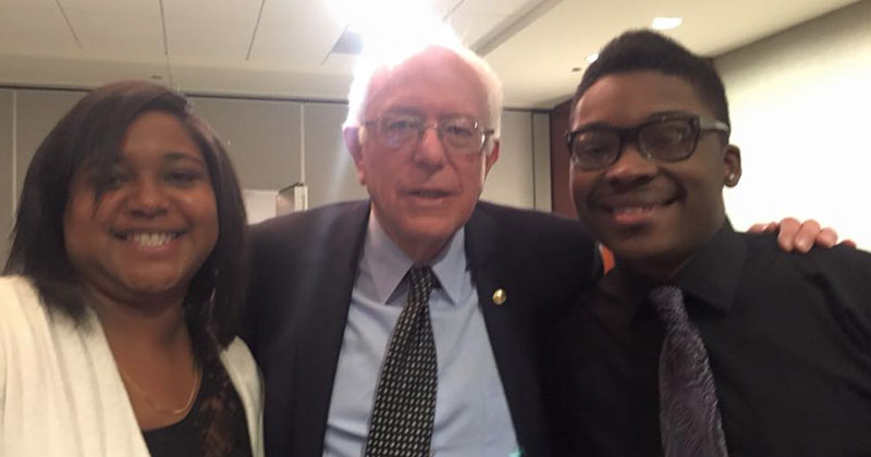 Ja'Mal D Green, right, with Bernie Sanders. Photo: Facebook.