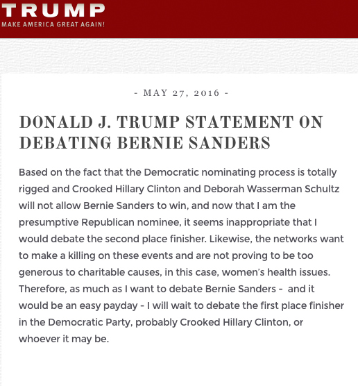 Trump Declines Debate With 'second place finisher' Bernie