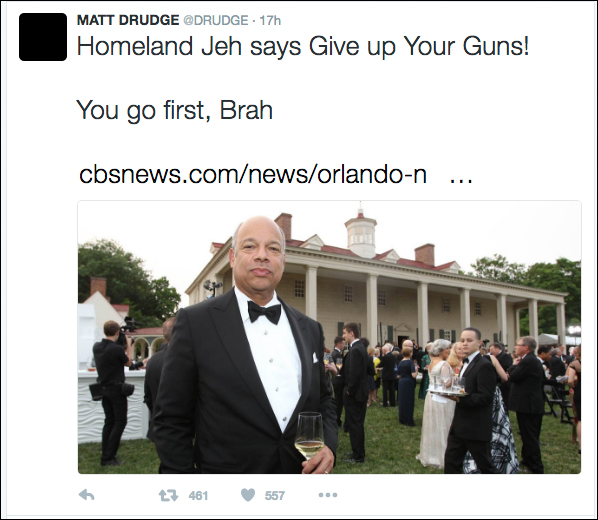 Drudge to DHS Secretary: Give Up Your Guns First!
