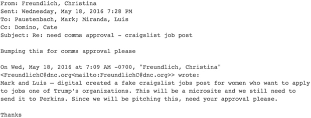 DNC Approved Planting Satirical Craigslist Ad to Mock Trump, Leaked Emails Show