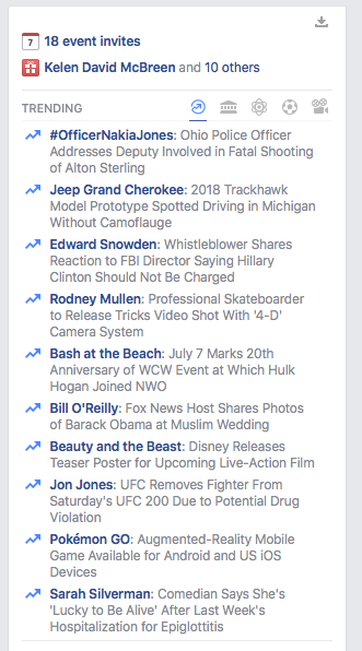 Facebook Censors Comey Hearing on Hillary That's Trending on Twitter