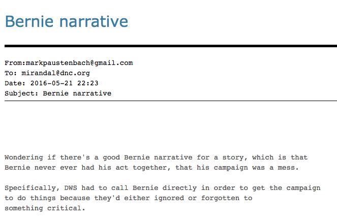 Internal Emails Show DNC Staffers Conspired to Develop Anti-Bernie 'narrative'