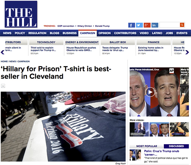 Media: 'Hillary for Prison' Shirt Top-Seller at RNC