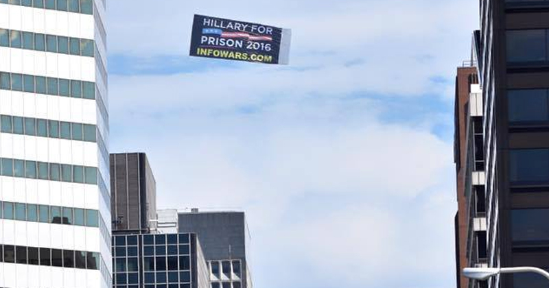 Video: 'Hillary For Prison' Banner Flies High Over Cleveland, RNC