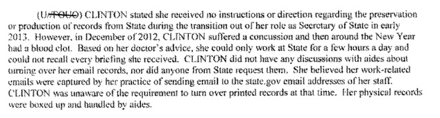 Hillary Couldn't Answer FBI Questions Due To Brain Injury, Docs Show