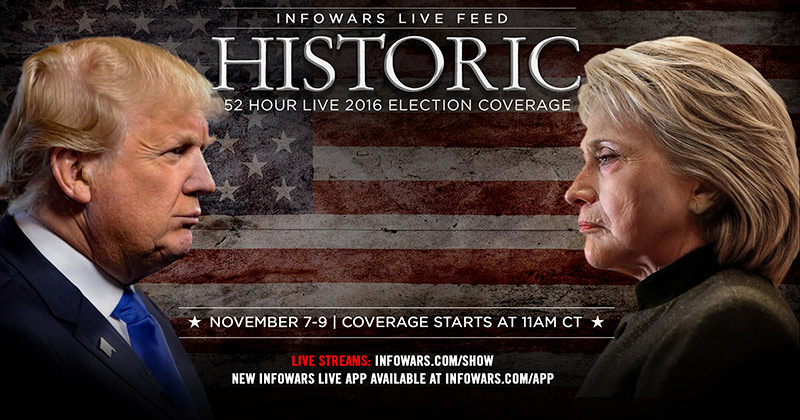 LIVE NOW: Emergency Election Broadcast - Share This Link: Infowars.com/elections