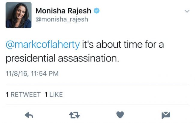 Journalist Deletes Account After Tweeting 'Time For a Presidential Assassination'