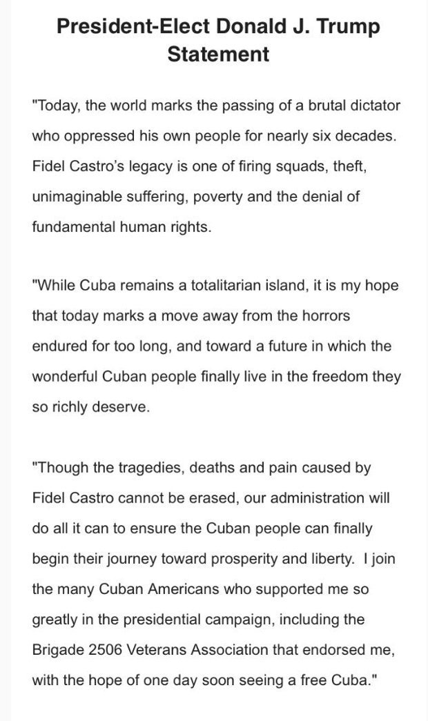 "Bombshell: Trump Declares Castro a ""Brutal, Oppressive Dictator"""