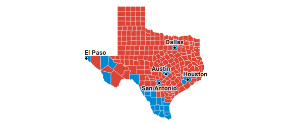 Map Shows Sanctuary City Islands of Blue In Sea of Red