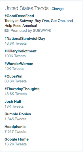 Twitter: More Interested in #HillaryIndictment than #CubsWin