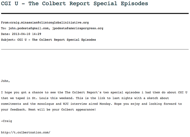 Wikileaks: Colbert Report Gave Clinton Foundation Control Over Production