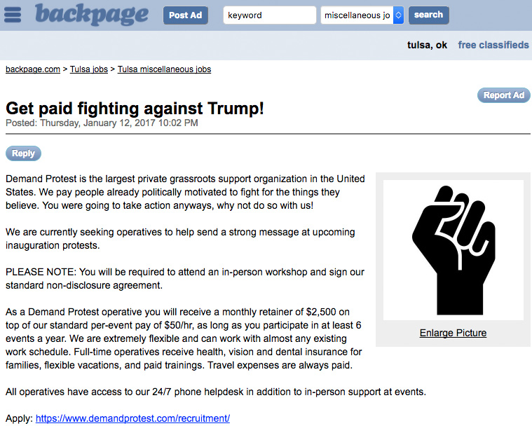Report: 'Grassroots' Organization Offers $2.5k to Protest Trump Inauguration