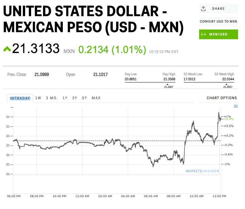 Peso Tumbles After Mexican President Says He Rejects Trump's Border Wall