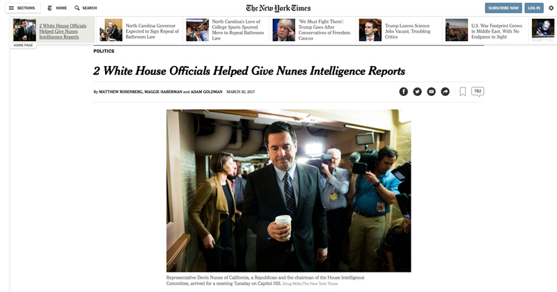 Breaking: NY Times Outs Nunes, Cites Sources