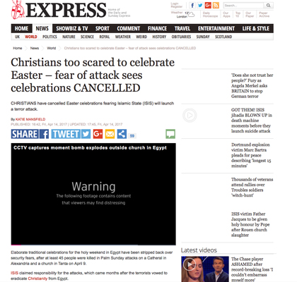 Christians Cancel Easter Celebrations Over ISIS Fears