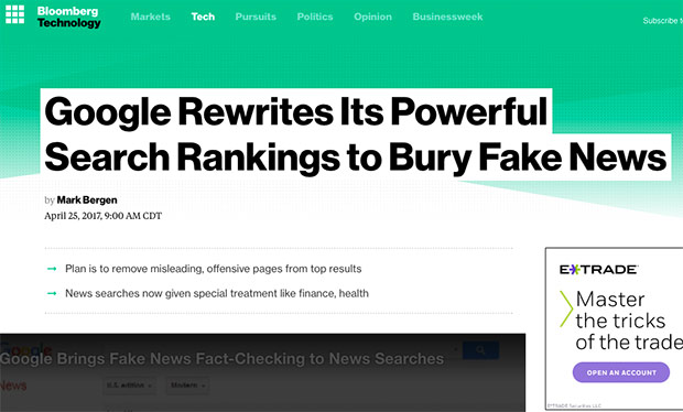 Google Rewrites Algorithm To Bury 'Fake News' in Search Results