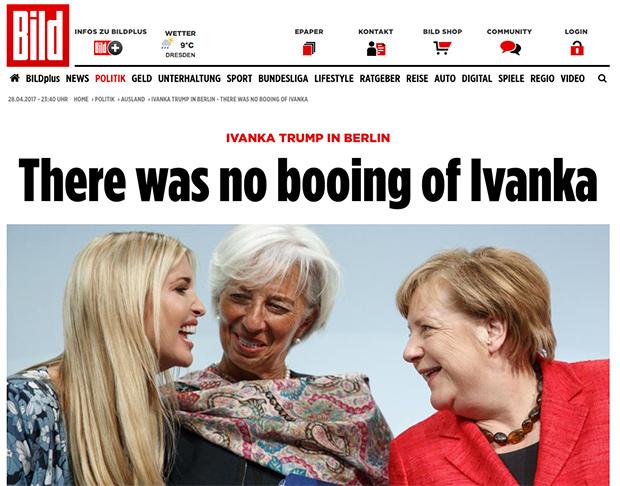 Fake News: German Media Says Ivanka Wasn't Booed in Berlin