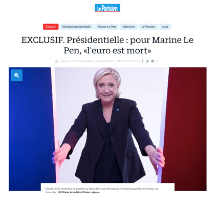 Le Pen: France Must Reject Euro to Regain Sovereignty