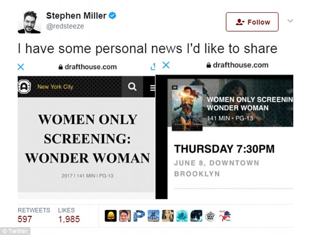Feminist Meltdown After Journalist Announces He Will Attend 'Women Only' Movie Screening