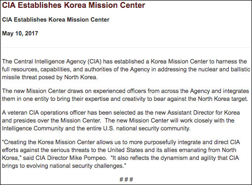 CIA Creates Mission Center to Address North Korean Threat