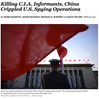 China Killed a Dozen CIA Sources After Uncovering Spy Operations, US Officials Say