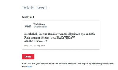 Twitter Suspends WND For Linking Donna Brazile to Seth Rich Case