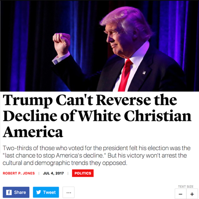 Globalist Mag Claims Trump Won't Stop Decline of White Christian America