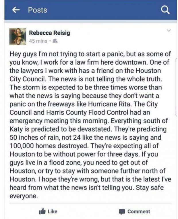 "Houston Officials Downplayed Flood Warnings as ""Fake News"""