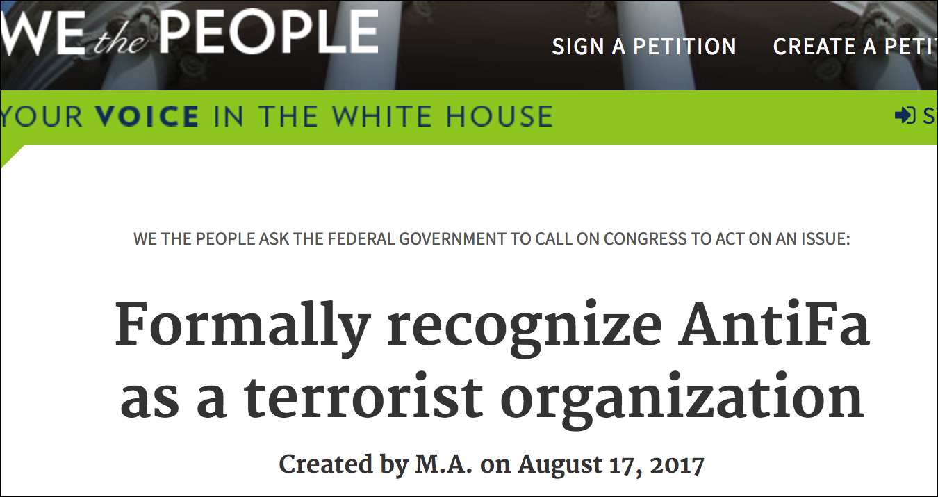 White House Petition Calls on Trump to Officially Recognize 'Antifa' as a Terrorist Organization