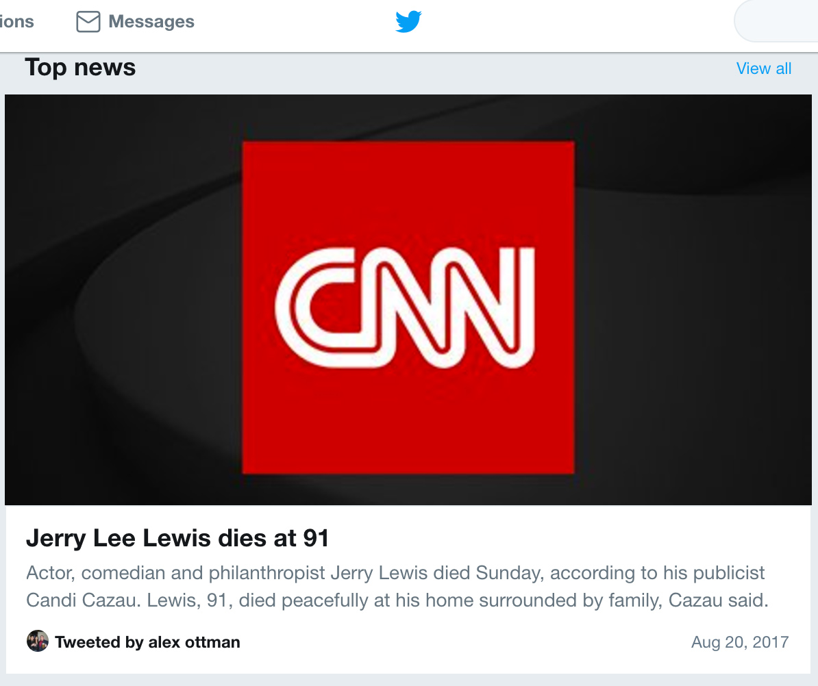 Fake News CNN Kills Off Wrong Jerry Lewis