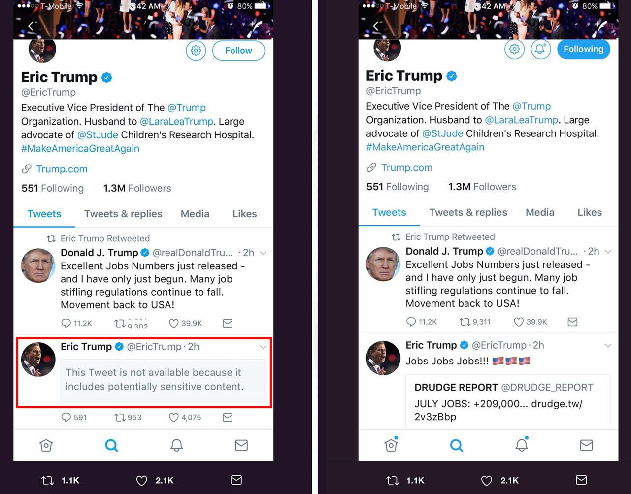 Breaking: Twitter Censors Eric Trump's Drudge Tweet Showing Great American Job Numbers