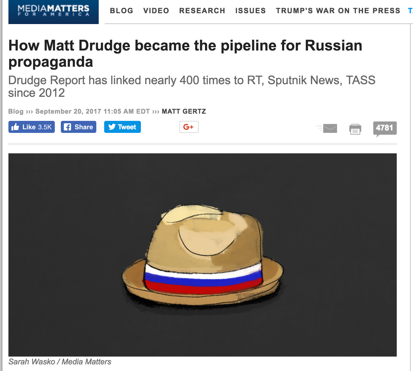 Epic: Matt Drudge Trolls Media Matters' Russia Accusations – By Linking to Russian Media