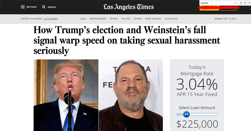 Dems Sacrifice Weinstein to Attack Trump While Moving Away From Clintons
